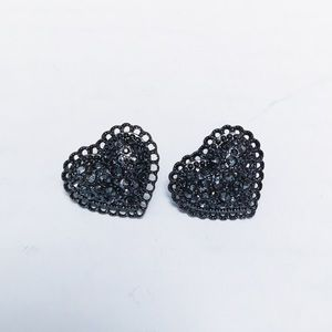 Betsey Johnson - Rhinestone Heart Earrings